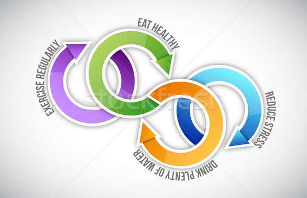 Diagram egészséges élet bicikli fitnessz egészség ír Stock fotó © alexmillos
