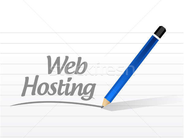 Web hosting mesaj imzalamak örnek grafik tasarım Stok fotoğraf © alexmillos