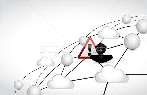 ハッカー クラウドネットワーク 実例 デザイン グラフィック 白 ストックフォト © alexmillos