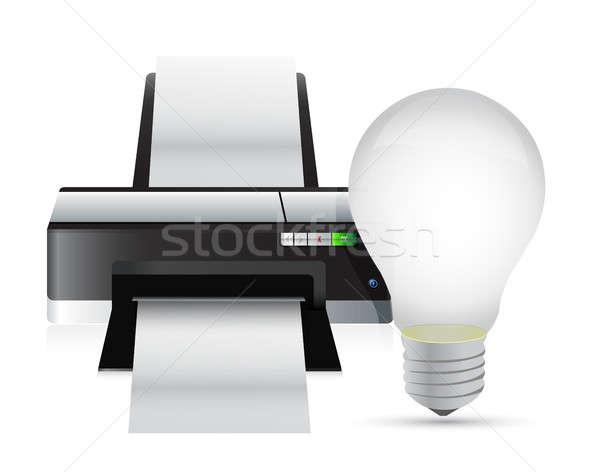 printer and idea light bulb Stock photo © alexmillos