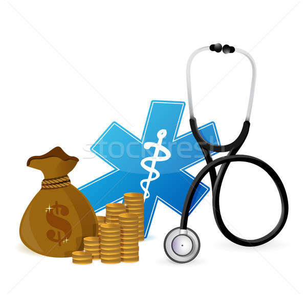 Médico despesas ilustração projeto branco coração Foto stock © alexmillos