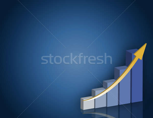Blue and yellow Business success graph background. Stock photo © alexmillos