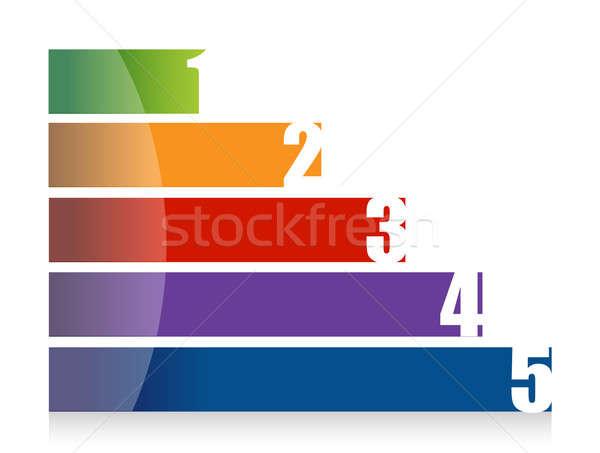 landscape colorful number graph illustration design over white Stock photo © alexmillos