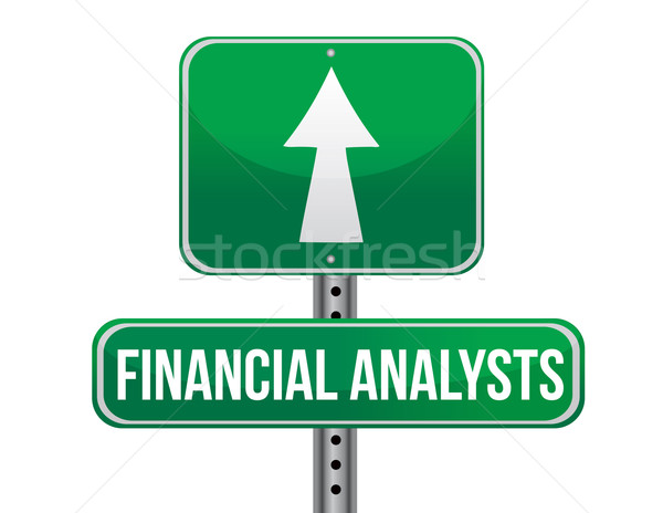 financial analyst road sign illustration design over a white bac Stock photo © alexmillos