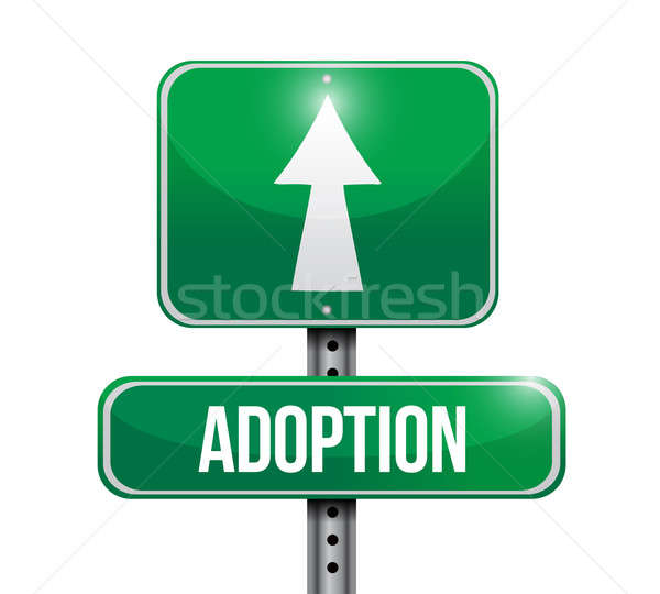 adoption road sign illustration design over a white background Stock photo © alexmillos