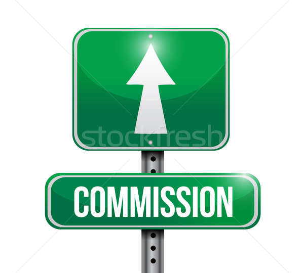commission road sign illustration design over a white background Stock photo © alexmillos