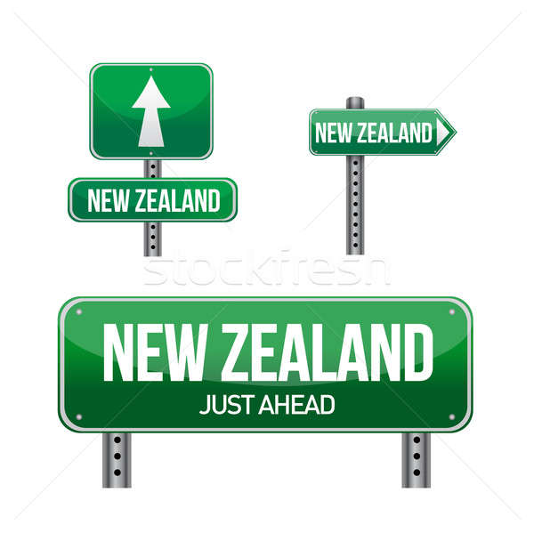 new zealand Country road sign illustration design over white Stock photo © alexmillos