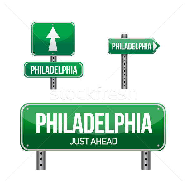 philadelphia city road sign illustration design over white Stock photo © alexmillos