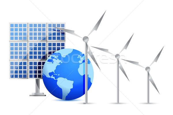 Alternative Energy (solar cell, earth, wind turbine) illustratio Stock photo © alexmillos