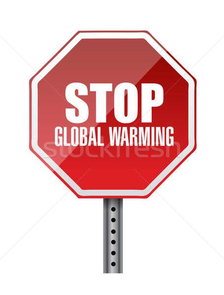 Foto stock: Pare · aquecimento · global · vermelho · placa · sinalizadora · ilustração · projeto