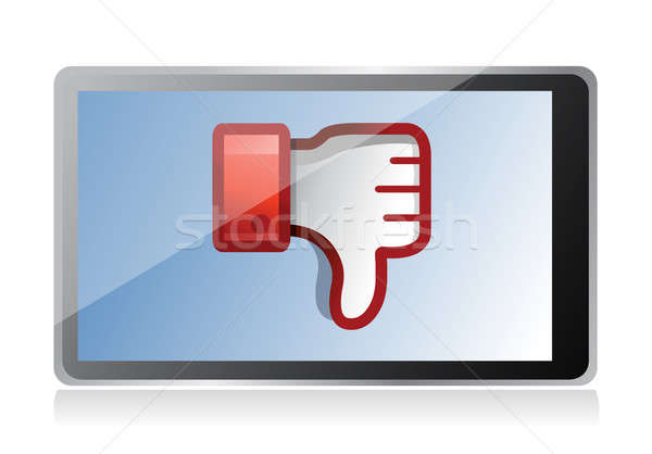 Stock photo: tablet with Dislike Icon. Thumb down Sign illustration design
