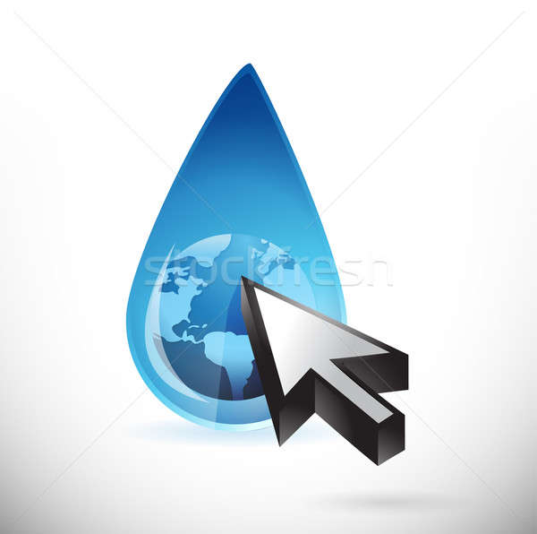 globe water and cursor illustration design over a white backgrou Stock photo © alexmillos