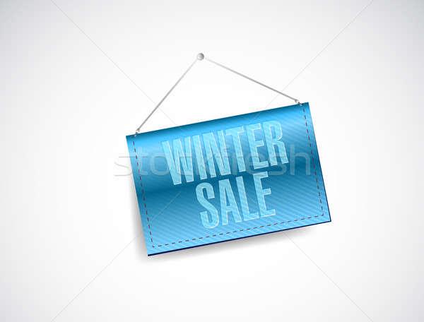 winter sale blue hanging banner illustration design over white Stock photo © alexmillos