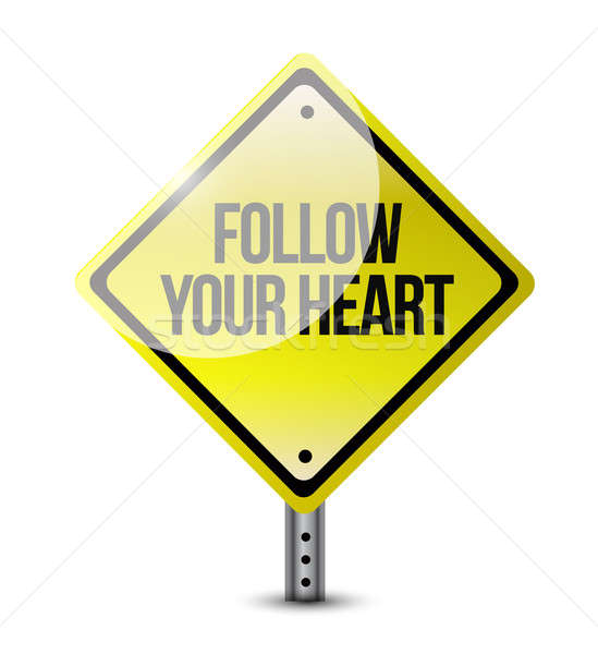 follow your heart road sign illustration design over white Stock photo © alexmillos