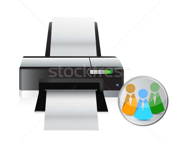 printer social network icon illustration design over a white bac Stock photo © alexmillos