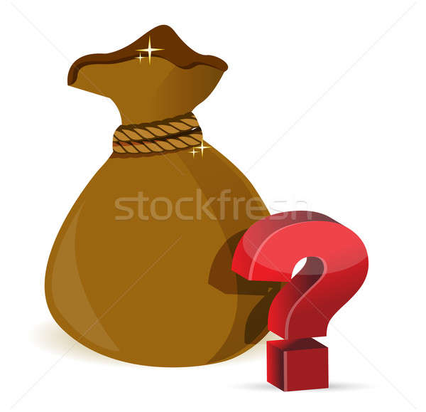 A money bag with question marks illustration design over a white Stock photo © alexmillos