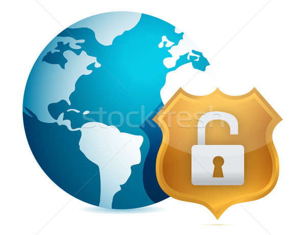 Unprotected security concept illustration design over white Stock photo © alexmillos