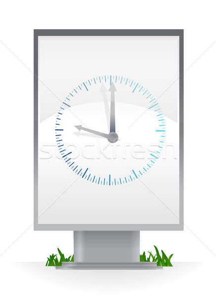 часы реклама Billboard черный будущем белый Сток-фото © alexmillos
