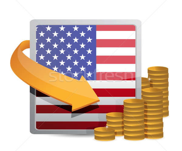 Us currency and flag Stock photo © alexmillos