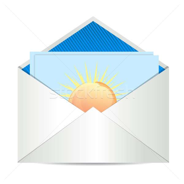 Envelop papier kaart business zon ontwerp Stockfoto © alexmillos