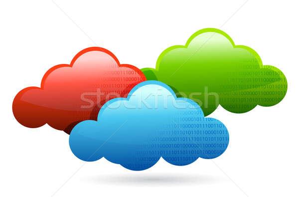 Kolor chmury ilustracja projektu biały niebo Zdjęcia stock © alexmillos
