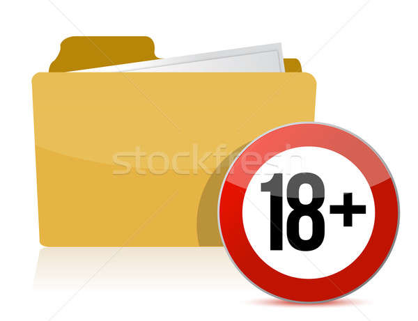 Eighteen or plus illustration design over a white background Stock photo © alexmillos