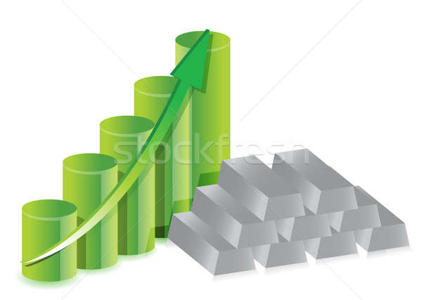 Silver bars graph prices Stock photo © alexmillos