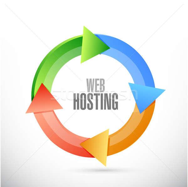 веб хостинг цикл знак иллюстрация графического дизайна Сток-фото © alexmillos