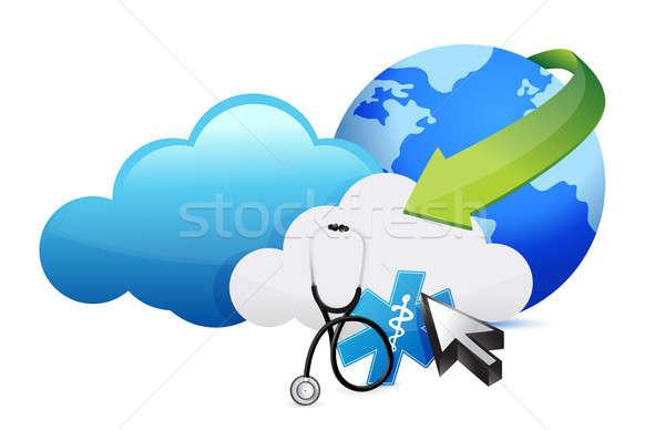 Orvosi történelem raktár sztetoszkóp illusztráció terv Stock fotó © alexmillos