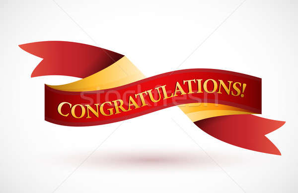 congratulations red waving ribbon banner Stock photo © alexmillos