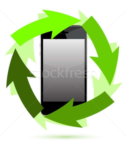 reusable electronic with green arrows Stock photo © alexmillos