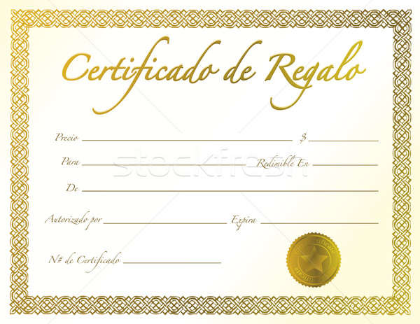 Spanish - Gold Gift Certificate with golden seal and design bord Stock photo © alexmillos