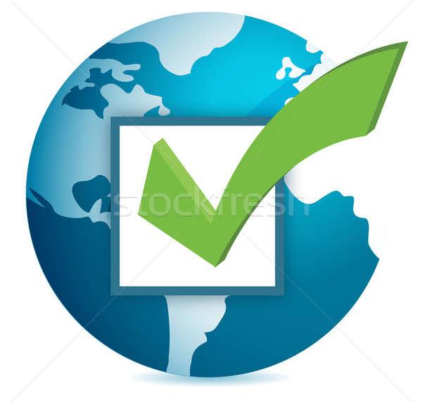 World globe and checkmark over a white background Stock photo © alexmillos