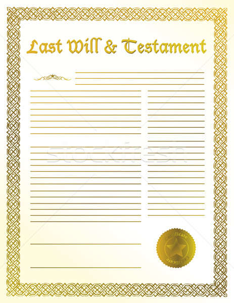 Antique quill and Old-fashioned paper with text of Last will Stock photo © alexmillos
