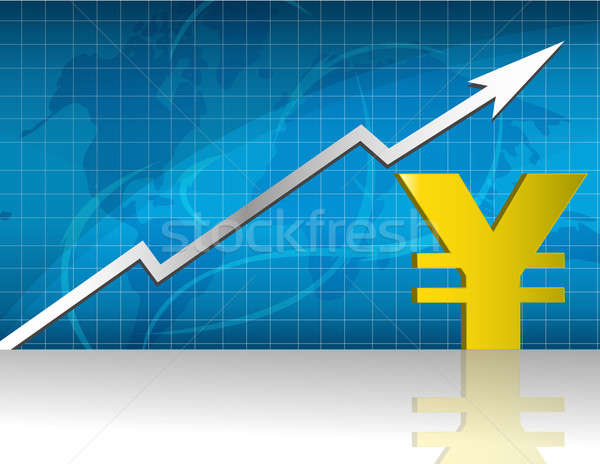 Yen currency trading graph. Stock photo © alexmillos