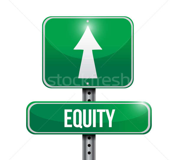 equity road sign illustration design over white Stock photo © alexmillos