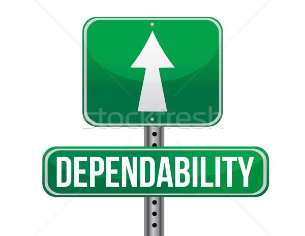 dependability road sign illustration design over a white backgro Stock photo © alexmillos