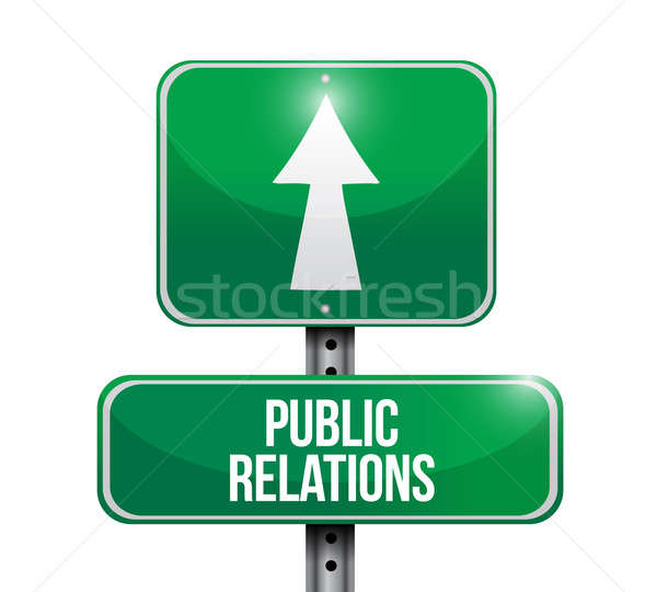 public relations road sign illustrations design over white Stock photo © alexmillos