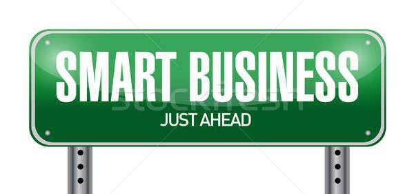 Сток-фото: Smart · бизнеса · дорожный · знак · иллюстрация · дизайна · белый