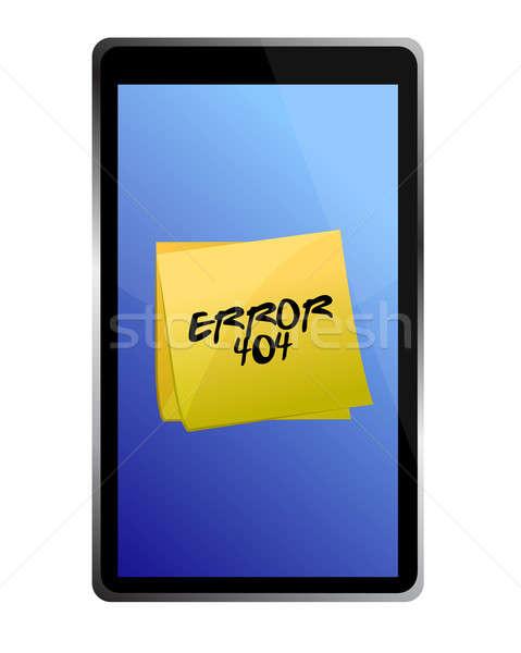 Tablet 404 fout bericht illustratie ontwerp Stockfoto © alexmillos