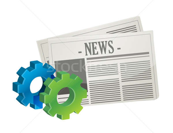industrial gear newspaper concept illustration design over white Stock photo © alexmillos