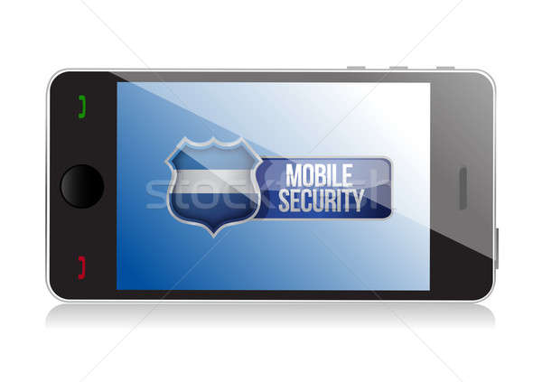 Smart phone with mobile security shield illustration design over Stock photo © alexmillos