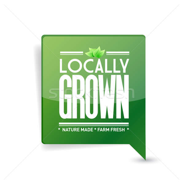 locally grown food sign illustration design over white Stock photo © alexmillos