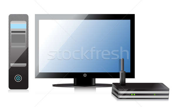 Wireless Router and computer illustration design over a white ba Stock photo © alexmillos