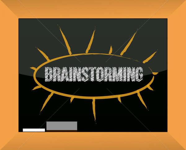 Zdjęcia stock: Burza · mózgów · tablicy · czarny · myślenia · graficzne · twórczej