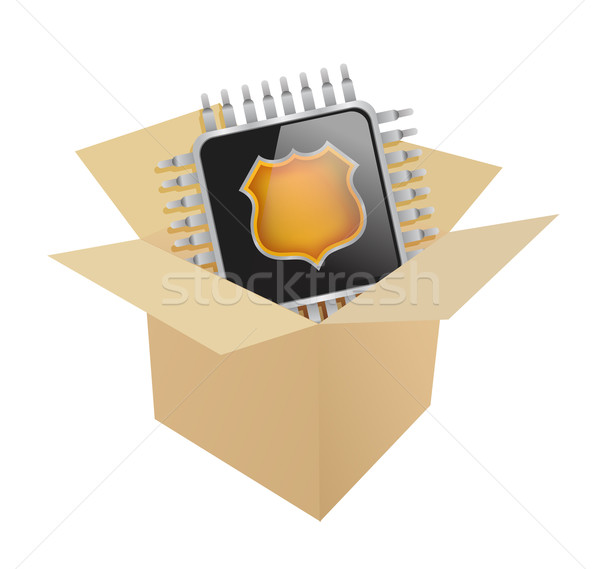 Box and electronic chip illustration  Stock photo © alexmillos