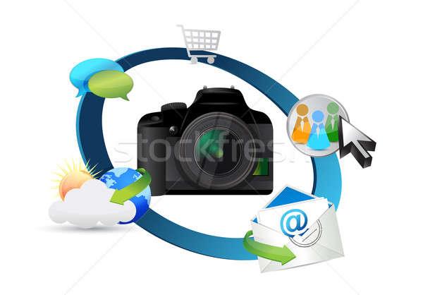 Kamera beállítások illusztráció terv fehér test Stock fotó © alexmillos