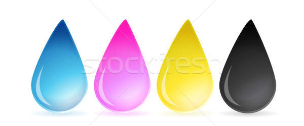 CMYK concept as cyan magenta yellow and black drops of ink illus Stock photo © alexmillos