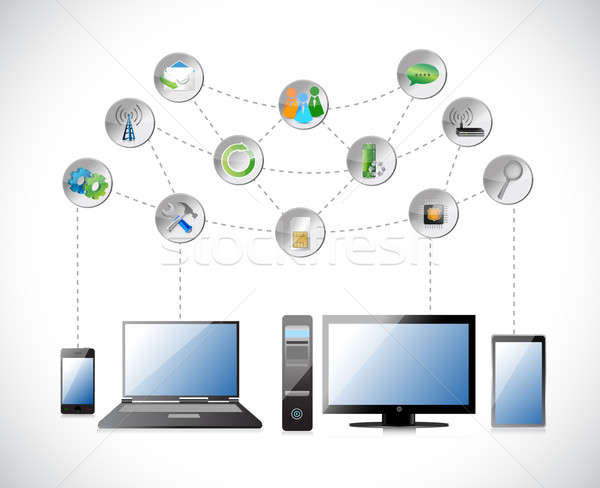 Electronics nuage icône illustration design Photo stock © alexmillos