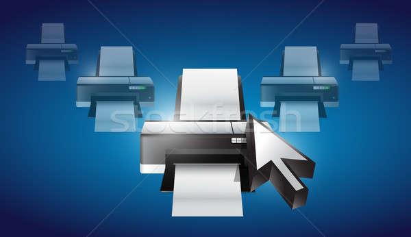 Impressora cursor ilustração projeto gráfico imprimir Foto stock © alexmillos
